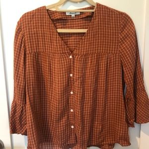 Madewell Plaid Top with Bell Sleeves